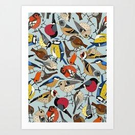 winter garden birds celadon blue Art Print