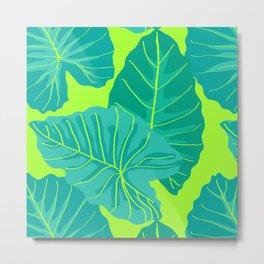 Giant Elephant Ear Leaves in Neon Lime Green Metal Print
