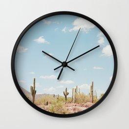 Saguaros in the Desert Wall Clock