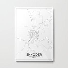 Minimal City Maps - Map Of Shkoder, Albania. Metal Print