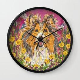 Sweet Summer Sheltie Wall Clock