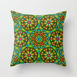 Stained Glass Mandala Throw Pillow