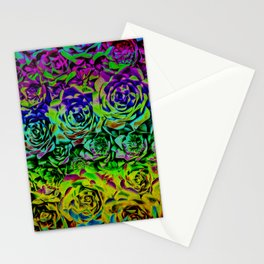 Psychedelic Flower Rows Stationery Cards