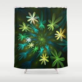 Fantasy Flowers, Fractal Art Shower Curtain