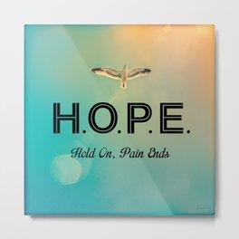 Always Have Hope (Seagull Flying in Teal Sky) Metal Print
