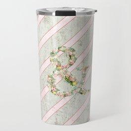 Romantic Floral Ampersand Pink Stripes Wood Travel Mug
