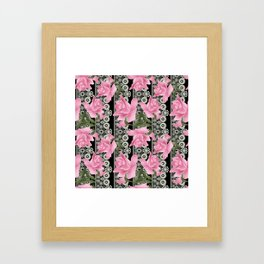 Gentle roses on a lace background. Framed Art Print