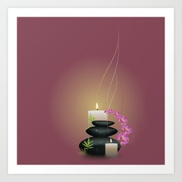 Pebbles with orchid Art Print