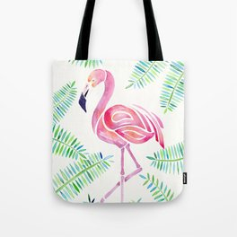 Dreamy Watercolor Flamingo and Ferns Tote Bag