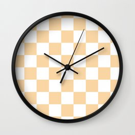 Checkered - White and Sunset Orange Wall Clock