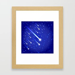 Space background with stars and comets Framed Art Print