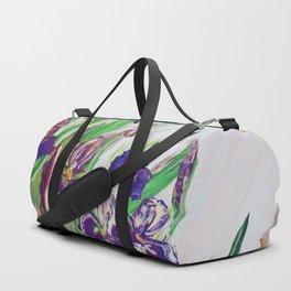 Iris Palette knife flowers painting floral art green violet blue by Ksavera Duffle Bag