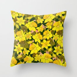 Daffodil Forest Throw Pillow