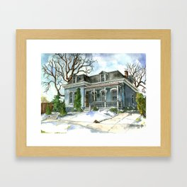 A Cozy Winter Cottage Framed Art Print