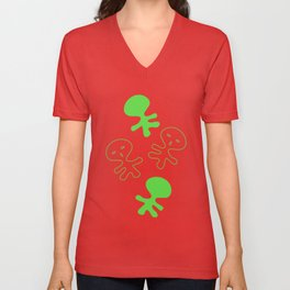 Aliens-Green Unisex V-Neck