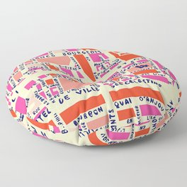 paris map pink Floor Pillow