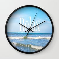 relax Wall Clocks featuring Relax by JuniqueStudio