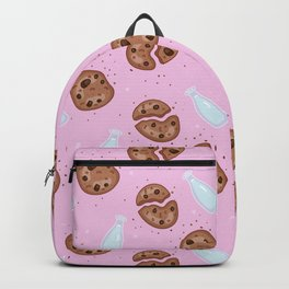 Milk and chocolate chips cookies pink Backpack
