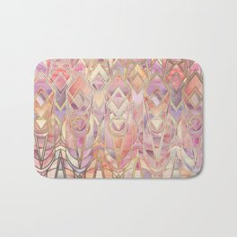 Glowing Coral and Amethyst Art Deco Pattern Bath Mat