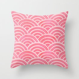 Japanese Seigaiha Wave – Powder Pink Palette Throw Pillow