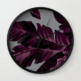 Banana's leaf (the dark cherry version) Wall Clock