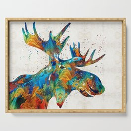 Colorful Moose Art - Confetti - By Sharon Cummings Serving Tray