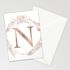 Letter N Rose Gold Pink Initial Monogram Stationery Cards