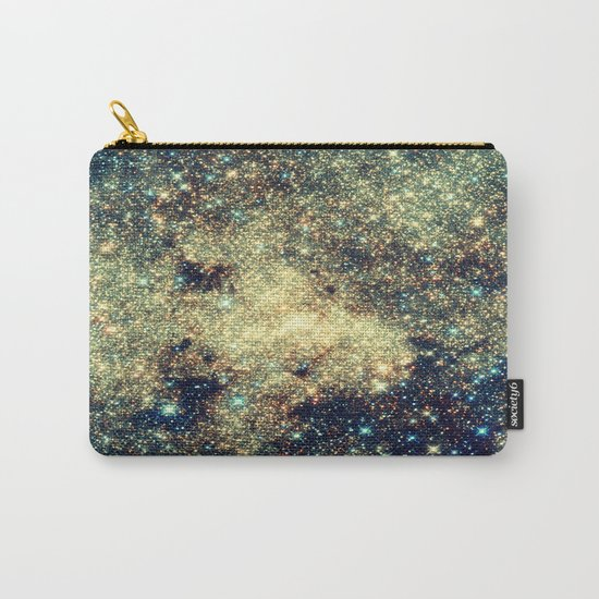 Galaxy Gold & Blue Stars Carry-All Pouch