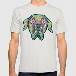 Great Dane with Floppy Ears - Day of the Dead Sugar Skull Dog T-shirt