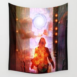 Her Infernal Exit Wall Tapestry