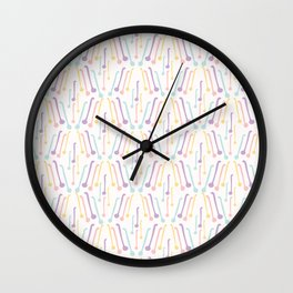 Tea Spoons Vector Cutlery Pattern Pastel Colors Wall Clock