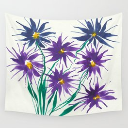 Purple and Blue Flowers. Wall Tapestry