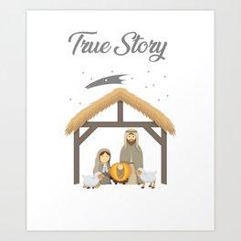 Jesus True Story Christmas Day Xmas Birth of Jesus Birth Story Celebration Art Print