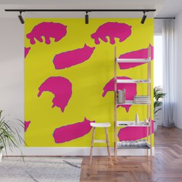 Sleeping cats pink on yellow Wall Mural