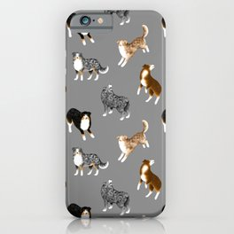 Australian Shepherd Pattern (Gray Background) iPhone Case