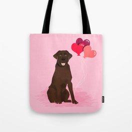 Chocolate Lab love hearts labrador retriever valentines day gifts Tote Bag