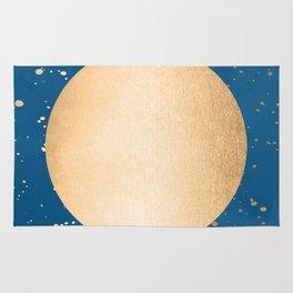 Paint Spatter Sun - Orange Sherbet Shimmer on Saltwater Taffy Teal Rug