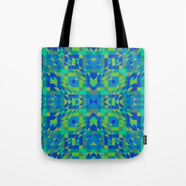 WICKED bright green and royal blue symmetrical geometric design Tote Bag