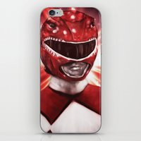 power ranger iPhone & iPod Skins featuring Red Power Ranger by SachsIllustration