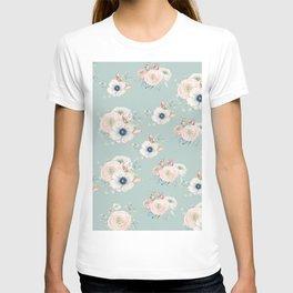 Dog Rose Pattern Mint T-shirt