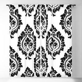 Decorative Damask Art I Black on White Blackout Curtain