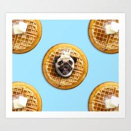 Pug Waffles Art Print