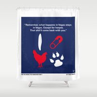 mercedes Shower Curtains featuring No145 My Hangover PART 1 minimal movie poster by Chungkong
