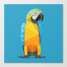 Low Poly Blue and Gold Macaw Canvas Print