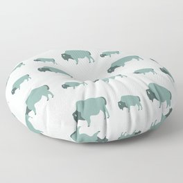 Bison And Baby (Moss) Floor Pillow