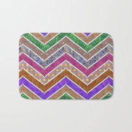 Moroccan Watercolor Lattice Chevrons Pattern Bath Mat