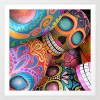 sugar skulls Art Prints featuring sugar skulls by wet yeti