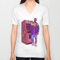 monster V-neck T-shirts featuring Monster Arcade by Mike Wrobel