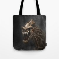 teeth Tote Bags featuring Teeth by Anne the Viking