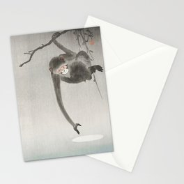 Monkey and the reflection of the moon in the water - Japanese vintage woodblock print Stationery Cards